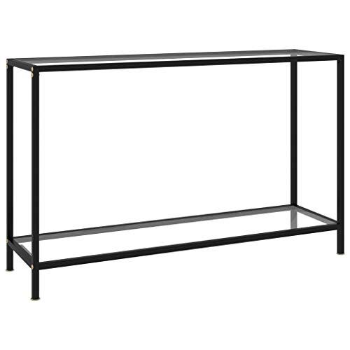 vidaXL Konsolentisch Flurtisch Konsole Beistelltisch Sideboard Wandtisch Frisiertisch Glastisch Deko Transparent 120x35x75cm Hartglas Stahl