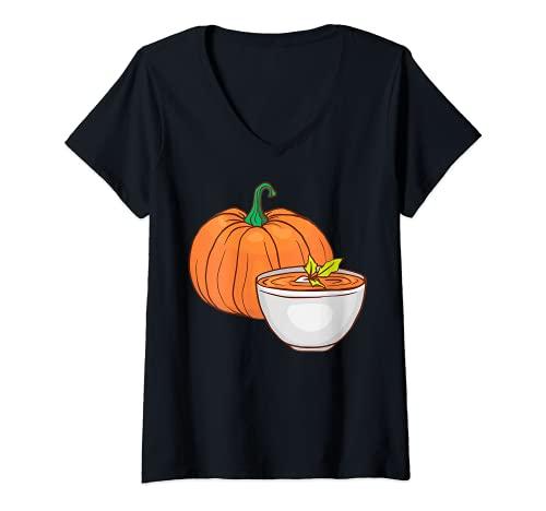 Donna Zuppa di zucca Verdure Vegano Vegetariano Maglietta con Collo a V