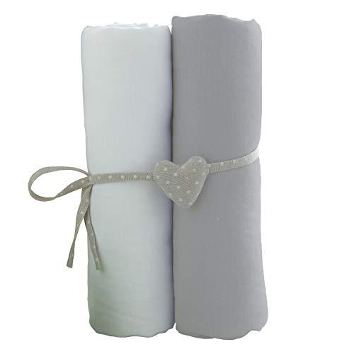 Lot de 2 draps housse Blanc/Gris Babycalin- 70x140 cm