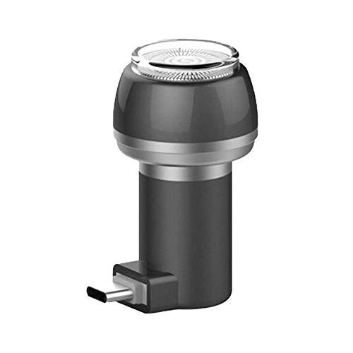 Baomasir Mini-scheerapparaat, 2-in-1, magnetisch elektrisch scheerapparaat, draagbare USB-telefoon/powerbank, waterdicht, duurzaam opladen Type C grijs/zwart