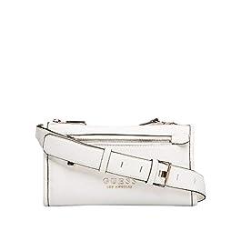 Guess BS20GU150 Lias Mini sac en bandoulière à double fermeture éclair, 2 compartiments, en similicuir, blanc