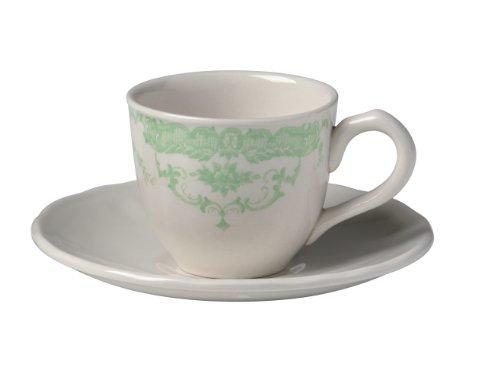 Bitossi Home BID151 Set aus 6 Kaffee-Bechern mit Teller, Rosa-Linie, Grün