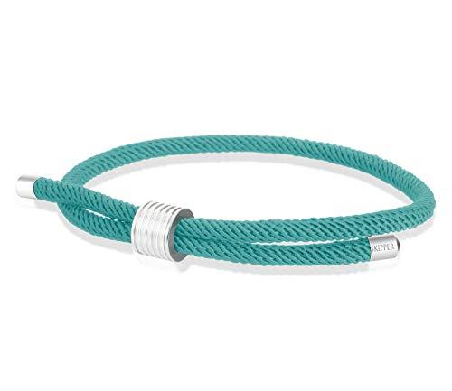 Skipper surfer bracelet maritime bracelet nylon with pull closure. turquoise