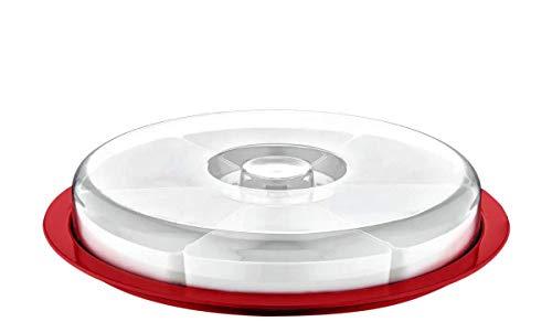 Juego de cuencos para servir con tapa, 6 compartimentos, ideal para desayuno, aperitivos y salsas, 34 x 6 cm, color rojo