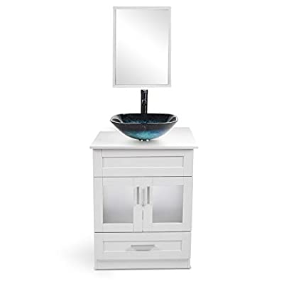 24 Inch White Bathroom Vanity and Sink Combo - with Mirror and Water Saving 1.5 GPM ORB Faucet Counter Top Floor Cabinet