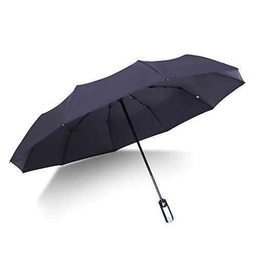 Ainaan Regenschirm, faltbar, winddicht, verstärkt, ergonomischer Griff, automatisches Öffnen/Schließen, doppellagig, weniger UV-Strahlen 2019 schwarz