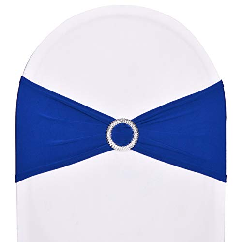 SweetEver Pack of 10 Stretch Spandex Chair Sashes for Wedding Party Banquet Decoration Elastic Bulk Chair Cover with Buckle Engagement Event Birthday Graduation Meeting Royal Blue