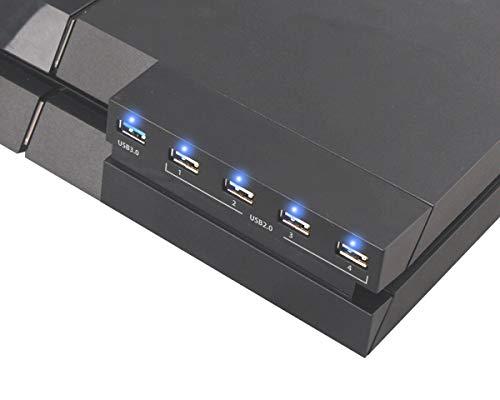 ElecGear PS4 USB Hub 3.0, Splitter Ladeanschluss des USB Erweiterung Adapters (1x USB3.0 und 4x USB2.0) mit LED für das PlayStation 4 CUH-1xxx konsolenzubehör