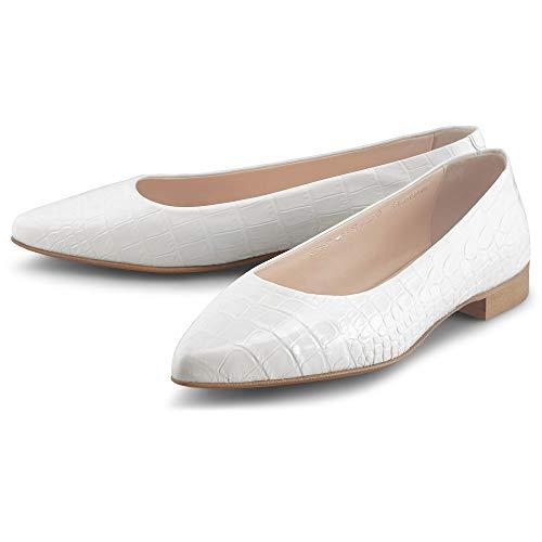 Belmondo Damen Leder-Ballerina Weiß Glattleder 38