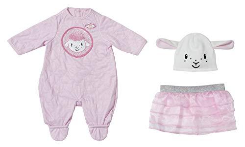 Zapf Creation 703229 Baby Annabell Deluxe Glitzer Puppenstrampler mit glitzernden Pailetten und witzigen Öhrchen und Stufenrock, Puppenkleidung 43 cm, 2-teiliges Set