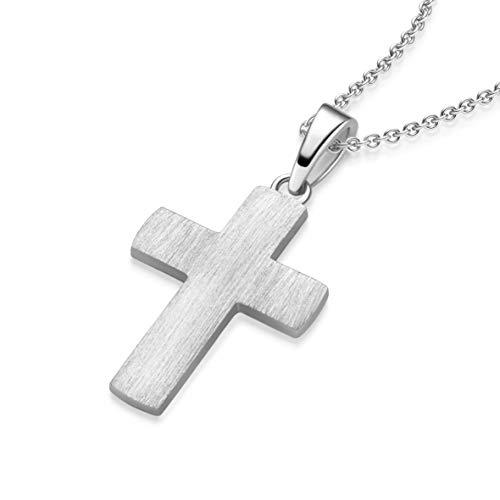 Kreuz Kette Silber 925 Kreuzkette + Luxusetui + Silberanhänger echt Silber Kreuzkette ohne Stein Kreuzanhänger Anhänger Kommunion Konfirmation Taufkette FF525 SS92545