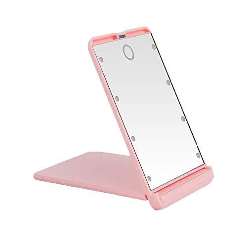 QZMZ Kosmetikspiegel Make-up Schminktisch Kosmetikspiegel Touchscreen LED-Licht Vergrößerung Tragbare Tischplatte 2X Lupe Handklappbar...
