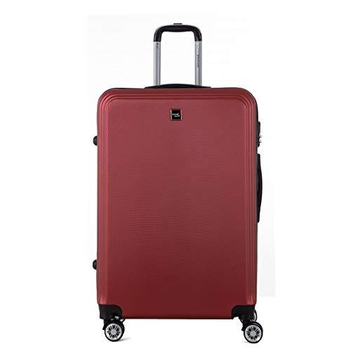 TRAVEL WORLD - Maleta de trolley de gran tamaño, maleta para equipaje rígido ABS – Burdeos – Gama AFD