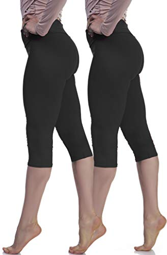 Extra Soft Capri Leggings with High Wast - 20 Colors Packs - Plus (Plus Size (XL - 3XL), Black (Two-Pack))