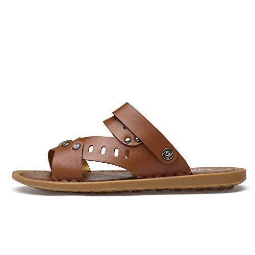 ZXY Sandalias Antideslizantes for Hombre Zapatillas con Correa en el Tobillo Resbalón en Tachuelas de Cuero Genuino Cierre Zapatos de Playa Sandals (Color : Marrón, tamaño : 44 EU) (Ropa)