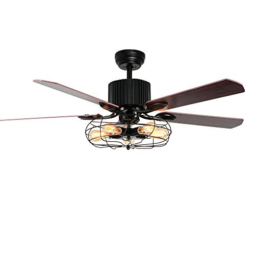 Tropicalfan Chandelier Ceiling Fan with Light, Industrial Vintage Fan, Retro Electrical Fan With 5 Wood Blades for Indoor, Living Room, Home Decorations (48', Copper Dark)