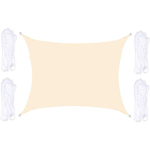LIANHUI Parasol rectangular para vela, impermeable, protección UV, para exteriores, jardín, patio, patio, fiesta, con cuerda gratuita (2 x 3 m, color blanco cremoso)
