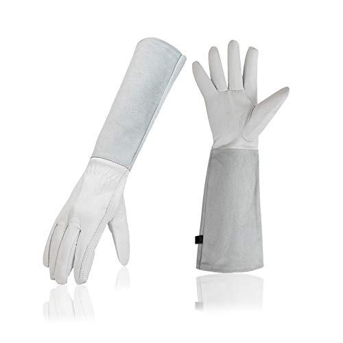 Gartenhandschuhe für Damen/Herren, Arbeitsschutzhandschuhe, Lederhandschuhe (stichfest und schnittfest), weiße lange Gartenhandschuhe, weiß, 1 Paar