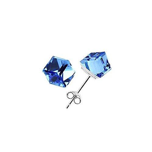 Orecchini argento 925/1000, con zirconi cristallo cubici per donne e ragazze Uomo (Blue)