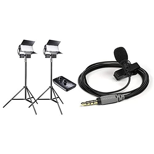 Walimex pro LED Sirius 160 Daylight 2er Set mit Stativ + Fernbedienung - 2X 65W Daylight Flächenleuchte, 2X 65 Watt 6000 Lumen & Rode smartLav + Lavalier Mikrofon mit Pop-Filter, schwarz