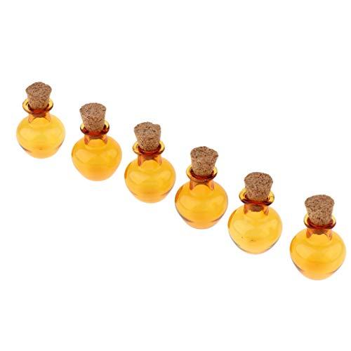 joyMerit 6pcs Petit Mini Bouchon en Liège Vitrail Vitrail Bouteilles en Verre Conteneurs Pots DIY Artisanat Fourniture - Ambre