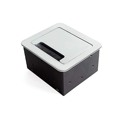 Emuca – ausziehbare und in den Tisch einlassbare Vielfachsteckerleiste, Mehrfachstecker (EU-Stecker Typ F, USB und HDMI), 145x130 mm, Grau-Metallic
