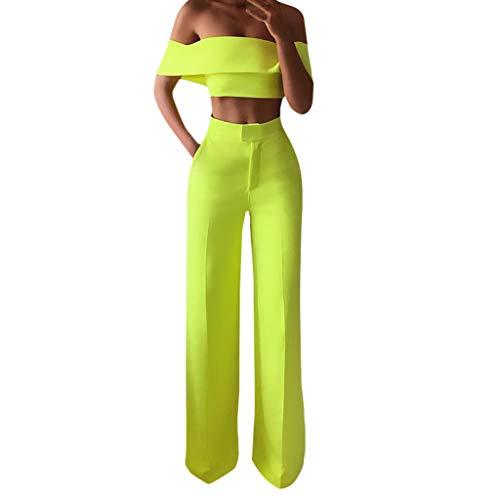 Ansenesna Damen Kleidung Set Schulterfrei Crop Shirt und Hose High Waist Weites Bein Gerade Outfit (Gelb,S)