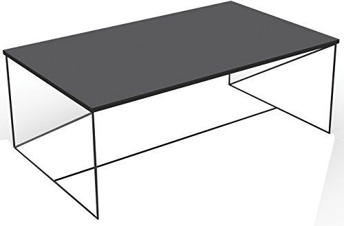 Walter Table Basse Rectangulaire Design Industriel Laqué Noir Métal et MDF 100 x 35 x60 cm