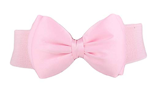 Andongnywell Womens Bow Belt Bowknot Wide Belt Girls Lady Stretch Cinch Waist Band Elastic Stretchy Belts for Dress (Pink)