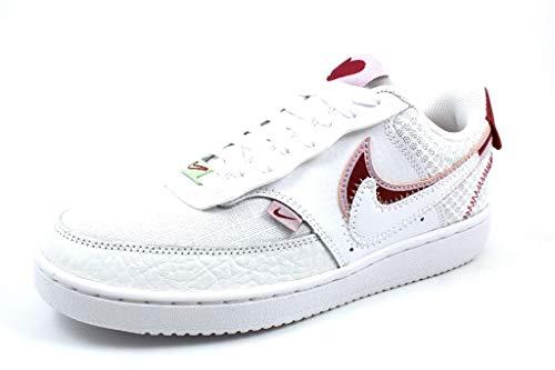 Nike Court Vision Low, Basketball Shoe Womens, Blanco/Rojo Noble/Lila Helado, 36 EU