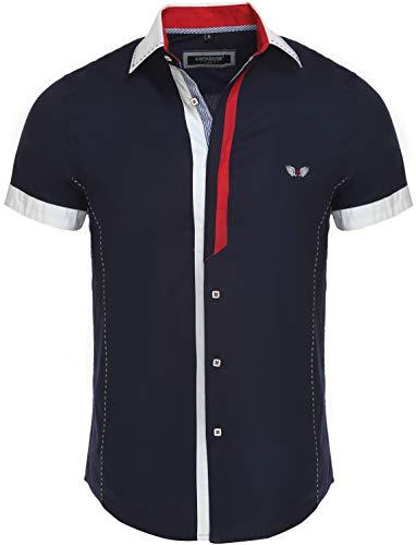 CARISMA Casual Herren Kurzarmhemd Freizeit/Business Hemd Kontrast Hemd Slim-Fit mit Kentkragen 9007 Navy L