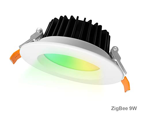 [Edición Plus] ZigBee 9W Focos Led Empotrables Techo, 16M RGB Color Downlight, 2000K-6500k Dual Blanco Panel LED Redondo Plano, 800LM, Ø105mm, AC230V, Control Remoto 2.4G Opcional