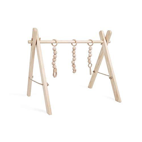Spieltrapez Holz Spielbogen für Babys   Baby Spielzeug aus Naturholz   Activity Center Baby mit DREI sensorischen Spielzeugen   100% ECO   Made in EU