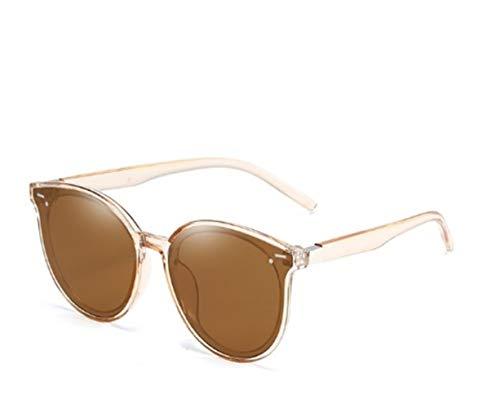 JXZPL Protezione UV Le Donne degli Occhiali da Sole di Modo delle Signore Grandi della Struttura di Vetro di Sun Retro Eyewear dell'Annata Rotonda (Lenses Color : Brown)