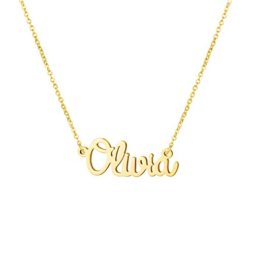 Personalized Name Necklace for Women Gold Plated Best Friend Birthday Jewelry Gifts for Her Olivia