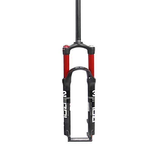 HIOD Forcella da Bicicletta Dritto Tubo MTB Sospensione Shock Bici Davanti Forchetta Shock Lock Controllo delle Spalle,Red,26-inch