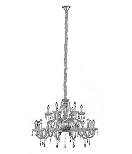Lustre Clássico Cristal 15 Luzes E14, LLUM Bronzearte, 36742, 630W, Transparente
