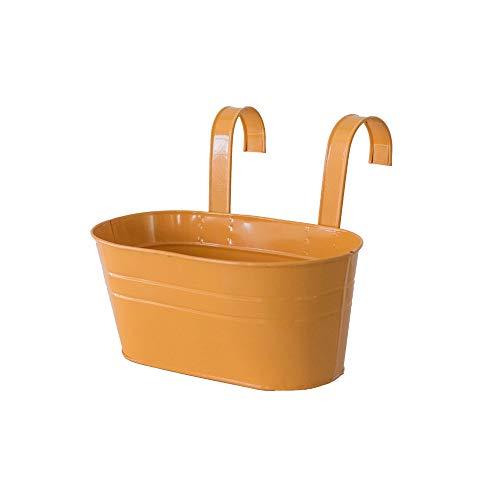 KEISL Maceta colgante de metal – maceta ovalada con gancho doble desmontable para jardín, balcón y valla de jardín, adorno – Gancho doble desmontable (naranja)