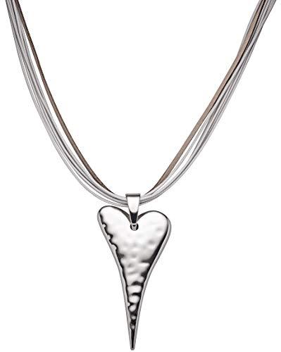 Perlkönig Kette Halskette | Damen Frauen | Silber Farben | Herz | Glänzend | Nickelabgabefrei