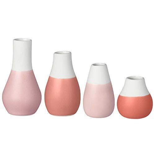 Räder Lot de 4mini-vases pastel dans les tons rouges