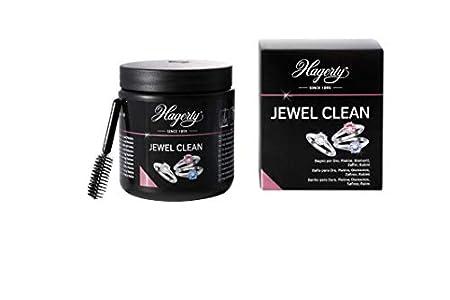 Hagerty Jewel Clean Baño de inmersión limpia joyas oro platino y piedras preciosas 170ml I Eficaz líquido para limpiar diamantes zafiros rubíes I Limpieza por inmersión con cesta y cepillo