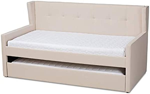 Baxton Studio Giorgia Beige Fabric Twin Size Daybed With Trundle