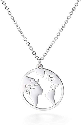 TYWZH Collar con Colgante de Mapa del Mundo, Collares para Mujer, Color Dorado, Rosa, Gargantilla, Cadena, Collar, joyería de Acero Inoxidable, símbolo de Amor, Regalo