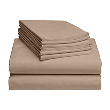 LuxClub 6 PC Sheet Set Bamboo Sheets Deep Pockets 18  Eco Friendly Wrinkle Free Sheets Hypoallergenic Anti-Bacteria Machine Washable Hotel Bedding Silky Soft - Light Khaki Queen