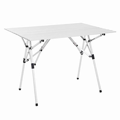 SONGMICS Opvouwbare campingtafel, draagbaar opklapbare aluminium picknick tafel voor BBQ, feesten, tuin, strand, campers, licht met draagtas, eenvoudige installatie, 100 x 69 x 70 cm ZILVER