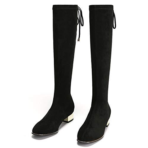 PARAVANO Overknees Stiefel Damen, Kniehohe Stretch Stiefel,Wildleder Damen Schwarz mit Absatz Winterschuhe (Schwarz Slim,38 Herstellergröße 240)