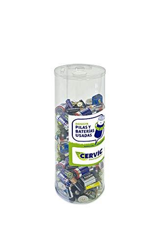 Contenedor para pilas (reciclapilas) de mesa o mostrador reutilizable de 6 litros de capacidad - PACK DE 6 (6 litros - reutilizable)
