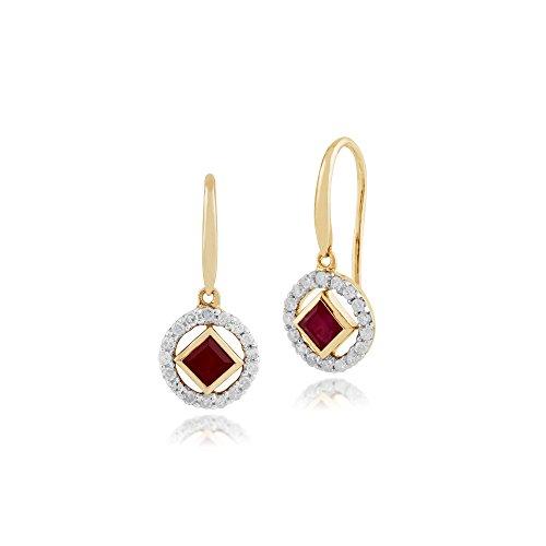 Gemondo Women 375 Gold 9ct Yellow Gold Square Ruby & Diamond Halo Drop Earrings Red
