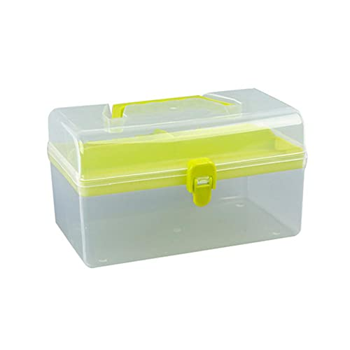 2-lagiger transparenter Kunststoff-Werkzeugkoffer mit Griff, multifunktional, tragbar,...