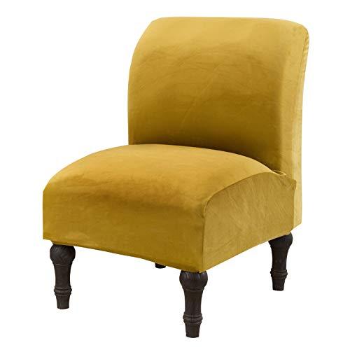 Mingfuxin Fundas para silla sin brazos, fundas elásticas para sillón, fundas para sofá, fundas extraíbles y lavables, protector de muebles para el hogar y el hotel (terciopelo, verde hierba);